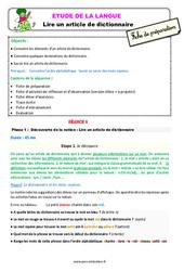 Lire un article de dictionnaire – Ce1 – Étude de la langue – Fiche de préparation