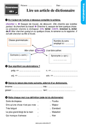 Lire un article de dictionnaire – Ce1 – Étude de la langue – Exercices avec les corrigés