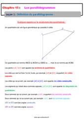 Définition du parallélogramme – 5ème – Cours
