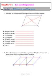 Définition du parallélogramme – 5ème – Exercices avec les corrections