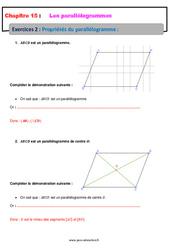 Propriétés du parallélogramme – 5ème – Exercices avec les corrections