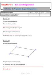 Propriétés du parallélogramme – 5ème – Evaluation, bilan, contrôle avec la correction