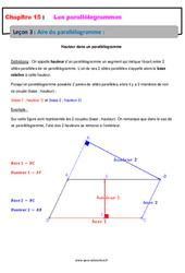 Aire du parallélogramme – 5ème – Cours