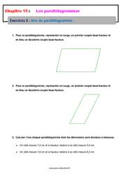 Aire du parallélogramme – 5ème – Exercices avec les corrections