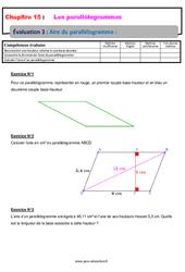 Aire du parallélogramme – 5ème – Evaluation, bilan, contrôle avec la correction