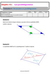 Reconnaitre un parallélogramme – 5ème – Evaluation, bilan, contrôle avec la correction