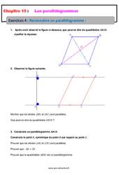 Reconnaitre un parallélogramme – 5ème – Exercices avec les corrections