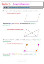 Reconnaitre un parallélogramme – 5ème – Cours