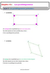 Les parallélogrammes particuliers – 5ème – Cours