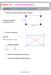 Les parallélogrammes particuliers – 5ème – Exercices avec les corrections