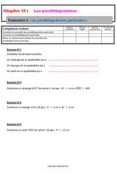 Les parallélogrammes particuliers – 5ème – Evaluation, bilan, contrôle avec la correction