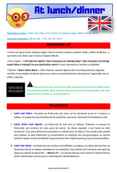 At lunch / dinner – CE1 – CE2 – Anglais – Lexique – Séquence complète – Cycle 2