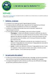 Qu'est-ce que la dyslexie? (connaissance du système éducatif) – CRPE2022