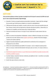 Quelles sont les conditions de la réussite pour l'objectif 1? - EPS - CRPE2022