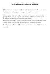 Renaissance scientifique et technique - Leçon - Temps modernes - Cm1 - Cycle 3