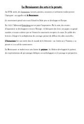 La Renaissance des arts et la pensée – Leçon – Temps modernes – Cm1 – Cycle 3