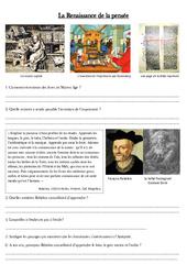 La Renaissance de la pensée – Exercices – Temps modernes – Cm1 – Cycle 3