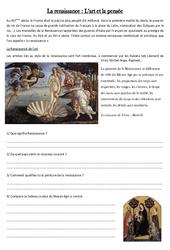 Histoire – Temps modernes cm1 cycle3 – Exercice: Document et question sur la renaissance des arts et de la pensée