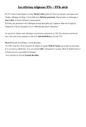 Réformes religieuses au XVe - Leçon - Les temps Modernes - Cm1 -  Cycle 3