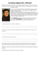 Réformes religieuses XVe - Exercices - Les temps Modernes - Cm1 - Cycle 3