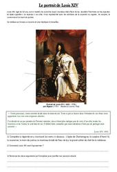 Portrait de Louis XIV – Exercices – Les temps Modernes – Cm1 – Cycle 3