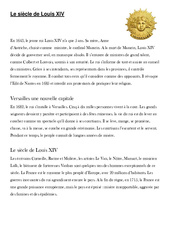 Le siècle de Louis XIV - Exercices - Monarchie absolue - Les Temps Modernes - Cm1 - Cycle3
