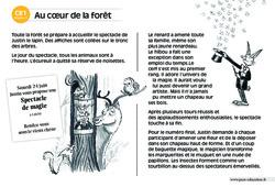 Au cœur de la forêt – CE1 – Lecture compréhension – Histoire illustrée - Niveau 3