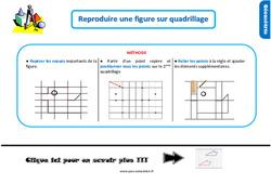 Leçon, trace écrite sur reproduire une figure sur quadrillage au Ce1