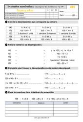 Évaluation, bilan sur décomposer des nombres de 0 à 199 au Ce1 avec les corrections