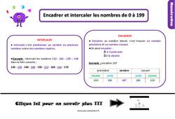 Leçon, trace écrite sur encadrer et intercaler les nombres de 0 à 199 au Ce1