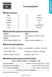 Exercices, révisions sur les synonymes au Ce1 avec les corrections
