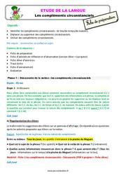 Les compléments circonstanciels – Ce2 – Étude de la langue – Fiche de préparation