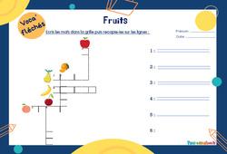 Fruits - CP - Mot étiquette - Voca' fléchés