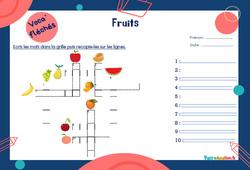 Fruits - CE1 - CE2 - Mot étiquette - Voca' fléchés