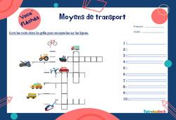Moyens de transport pour le CE1 - CE2 - Mot étiquette - Voca' fléchés