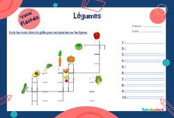 Légumes - CE1 - CE2 - Mot étiquette - Voca' fléchés