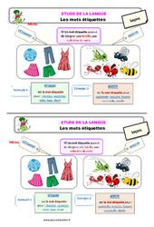 Les mots étiquettes – Ce1 – Étude de la langue – Leçon