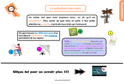 Leçon, trace écrite sur la polysémie des mots au Cm1