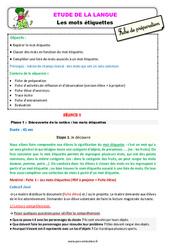Les mots étiquettes – Ce2 – Étude de la langue – Fiche de préparation