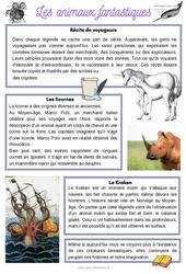 Les animaux fantastiques - CM1 - CM2 - Lecture documentaire