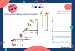 Animaux - CE1 - CE2 - Mot étiquette - Voca' fléchés