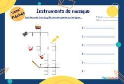 Instruments de musique - CP - Mot étiquette - Voca' fléchés