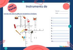 Instruments de musique - CE1 - CE2 - Mot étiquette - Voca' fléchés