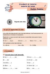 Mesures de temps - Cm1 - Soutien scolaire pour les élèves en difficulté.