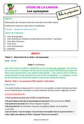 Les synonymes – Ce2 – Étude de la langue – Fiche de préparation