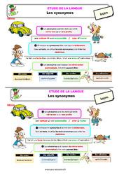 Les synonymes – Ce2 – Étude de la langue – Leçon