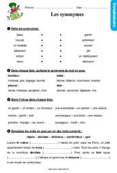 Les synonymes – Ce1 – Étude de la langue – Exercices avec les corrigés