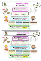 Les antonymes – Ce2 – Étude de la langue – Leçon