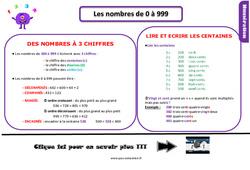 Leçon, trace écrite sur les nombres de 0 à 999 au Ce1