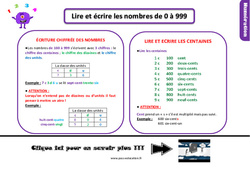 Leçon, trace écrite sur lire et écrire les nombres de0 à 999 au Ce1